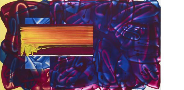 David Reed, #636, 2010-2013, Öl und Alkyd auf Polyester, 71 x 127 cm © reedstudio, Courtesy Galerie Anke Schmidt, Köln, Foto: Christopher Burke