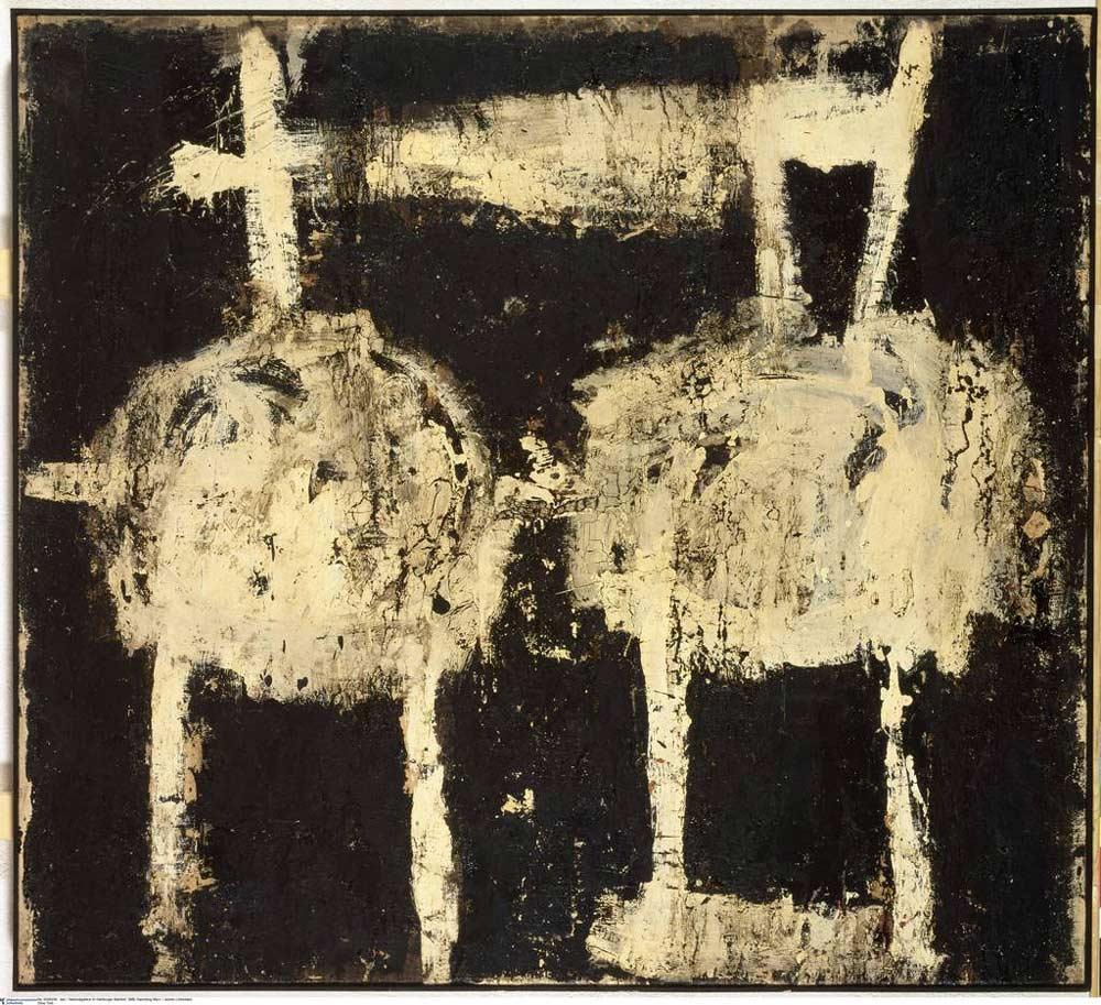 Cy Twombly: Untitled, 1951. Bitumen und Dispersionsfarbe auf Leinwand, 125,7 x 137,8 cm. © Staatliche Museen zu Berlin, Nationalgalerie, Hamburger Bahnhof - Museum für Gegenwart - Berlin, Sammlung Marx / Jochen Littkemann