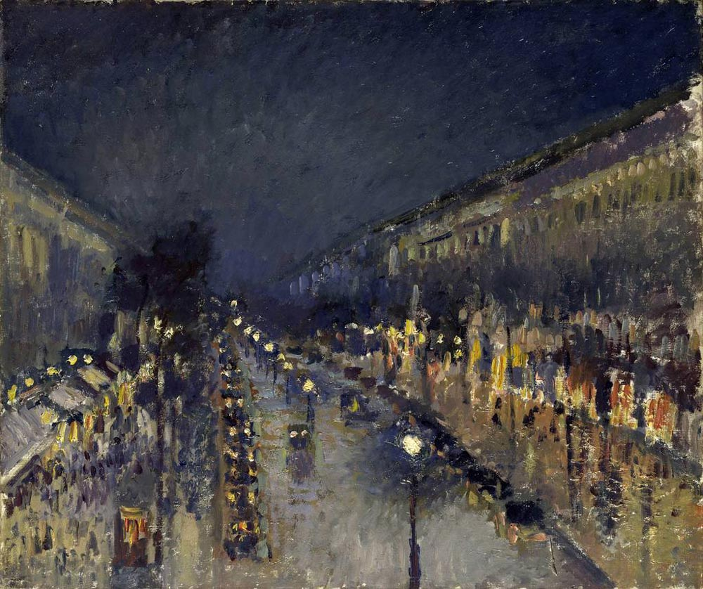 Camille Pissarro: Der Boulevard Montmartre bei Nacht, 1897. Öl auf Leinwand, 53,3 x 64,8 cm. © The National Gallery, London