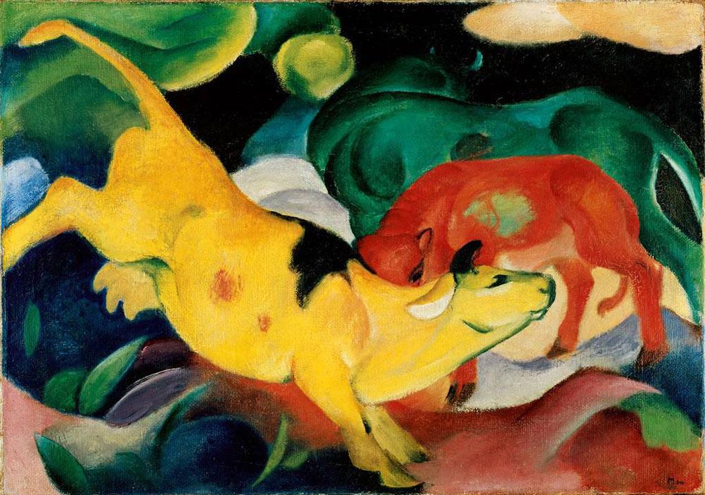 Franz Marc: Kühe, gelb-rot-grün, 1912. Öl auf Leinwand, 62 x 87,5 cm. © Städtische Galerie im Lenbachhaus und Kunstbau, München