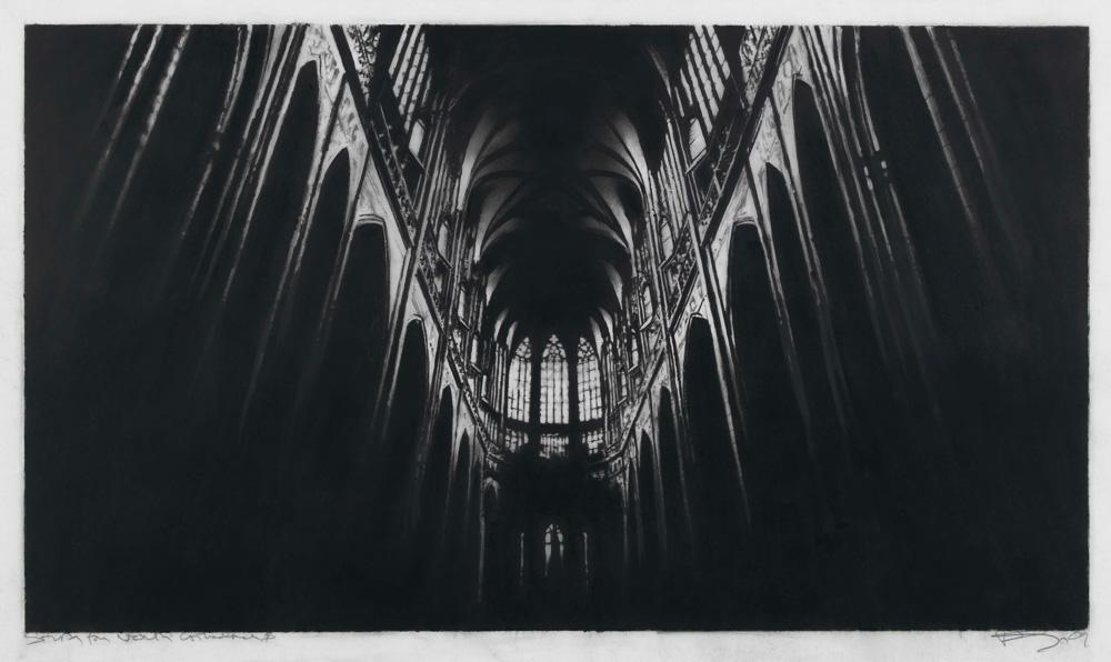 Robert Longo Study North Cathedral, 2009 Kohle auf Papier 30,5 x 53,3 cm / 48,1 x 60,6 cm, Foto: Lea Gryze