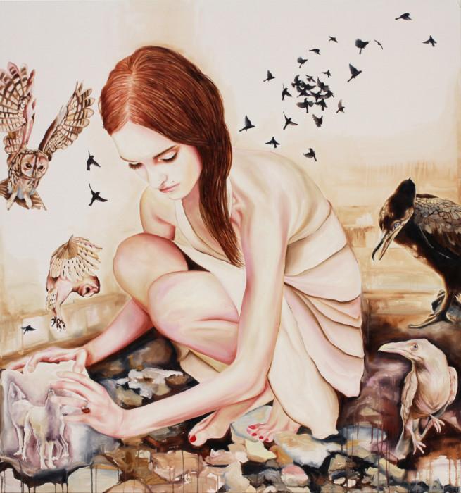 """Anna Borowy """"Interlude"""" 160 x 150 cm Öl auf Leinwand 2015 ©janinebeangallery"""