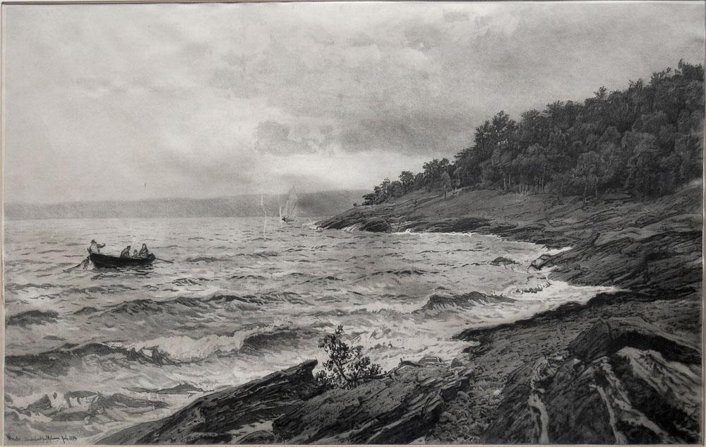 Hans Fredrik Gude Bundefjord fra Malmøen, 1884 Zeichnung auf Pergamentpapier 34 cm (H) × 54 cm (B)