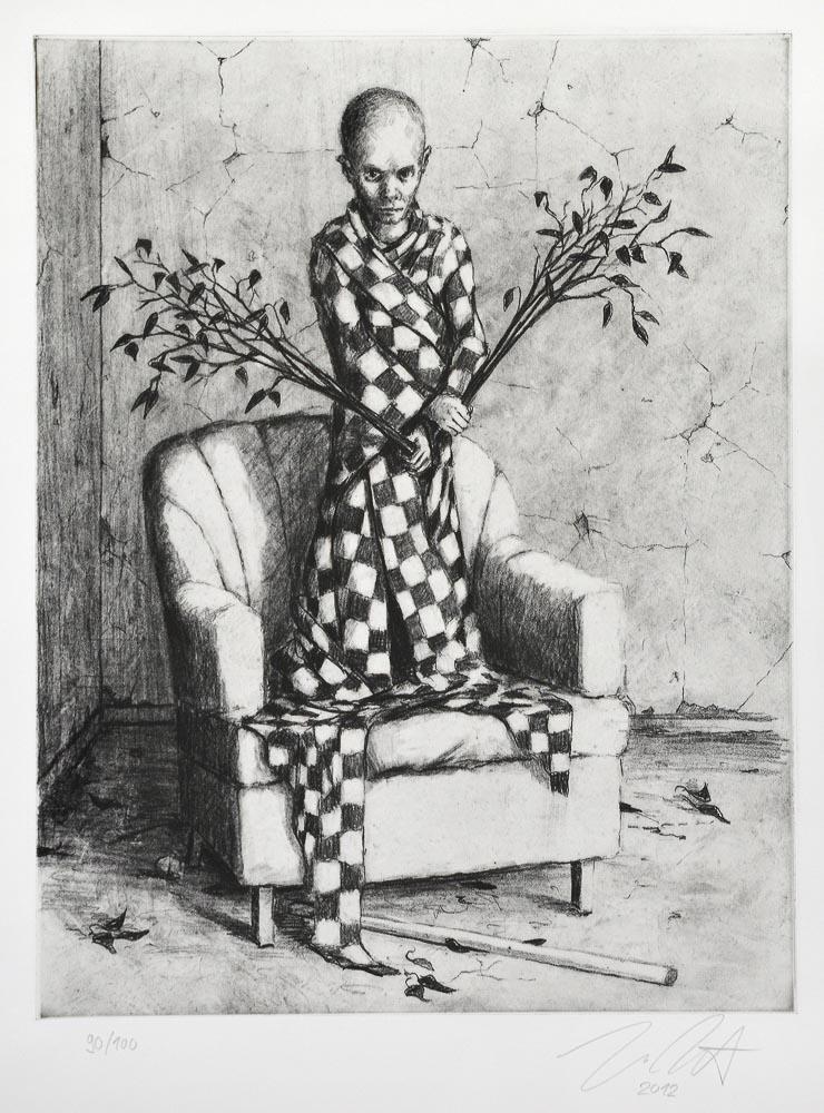 Jonas Burgert o. T. zitiert Werk »Falle«, 2012 Schwarz-weiss Lithografie (Heliogravure) 54 cm (H) × 44,5 cm (B)