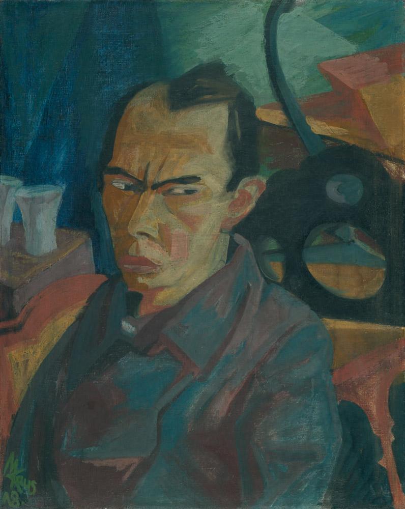 Max Kaus, 'Selbstbildnis', 1918, Tempera auf Leinwand