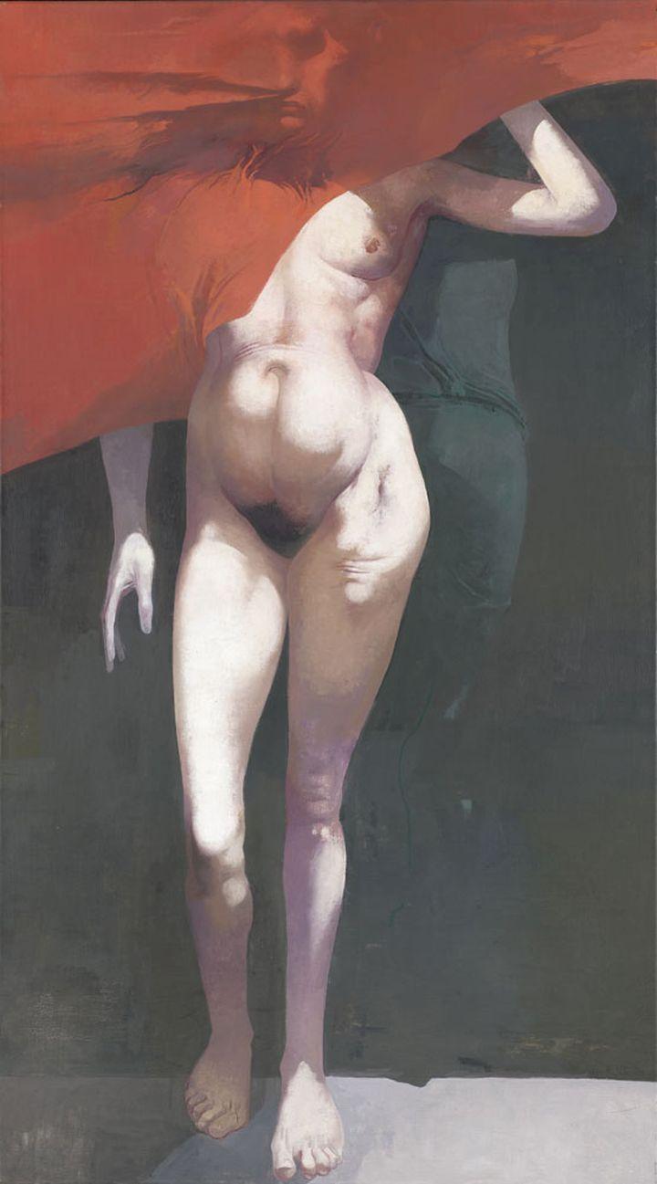 Arno Rink, Judith, 1998, Öl auf Leinwand, 180 x 100 cm, Galerie Schwind