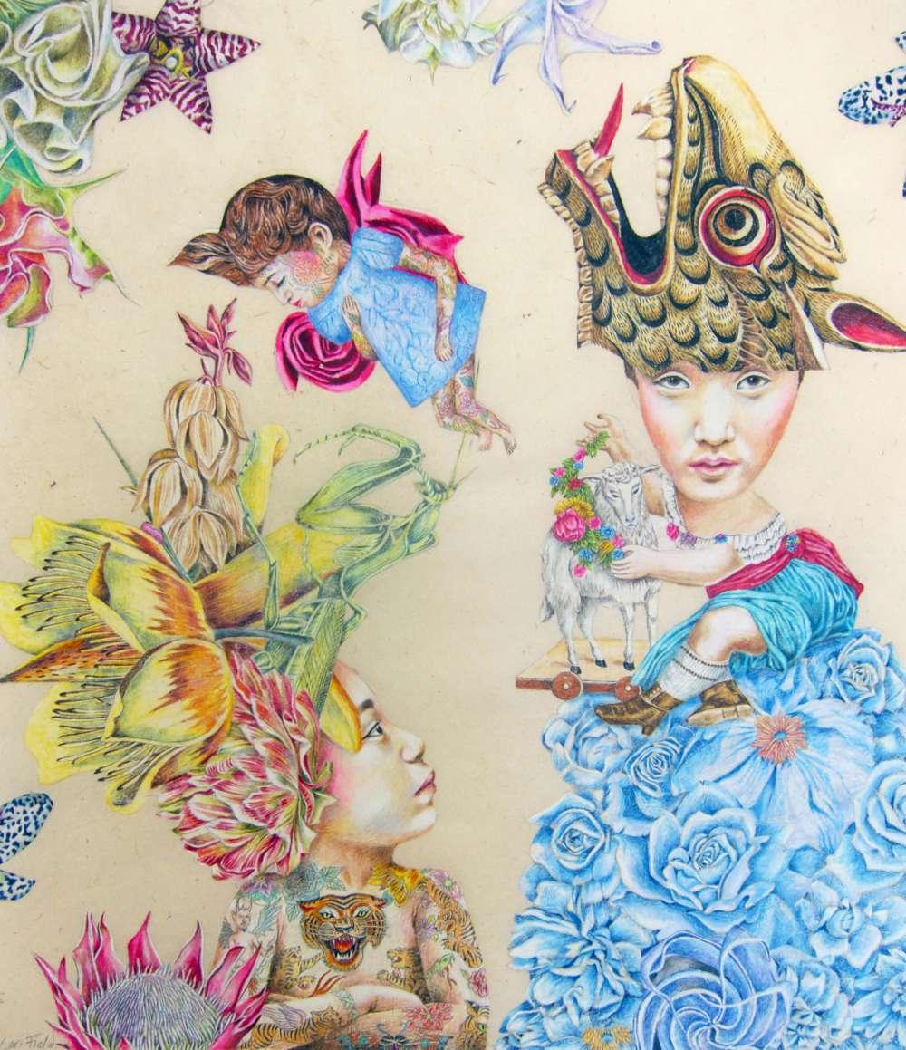 Lori Field Crouching Dragonlady Hidden Praying Mantis 55x45cm Pigment Stift auf Papier 2015, Tyger Tyger, janinebeangallery