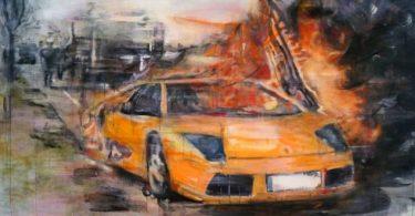 Tanja Selzer, Burning Lamborghini, 160 x 220 cm, Leinen, Séance, janinebeangallery