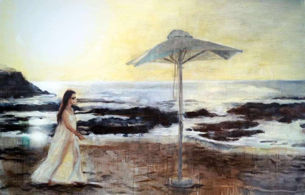 Tanja Selzer, Parasol, 140 x 220 cm, Leinen, Séance, janinebeangallery