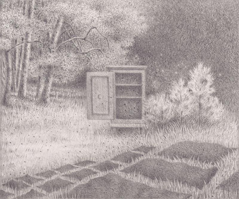 Wiesenbleiche Bleistift auf Papier, 11,5 cm x 13,9 cm (2014)