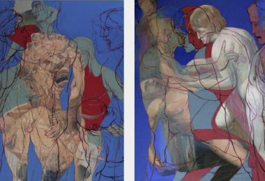 Marsyas Diptychon, 2014, Oil on linen, 180 cm x 280 cm, Antike Dispositionen, artfein GALLERY, Henri Deparade
