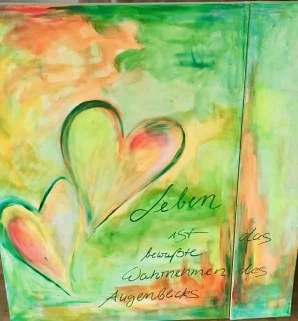 """""""Die Kraft der Farbe"""" Das Bild ist 100 cm x 70 cm und 100 cm x 20 cm groß, gemalt auf Leinwand"""