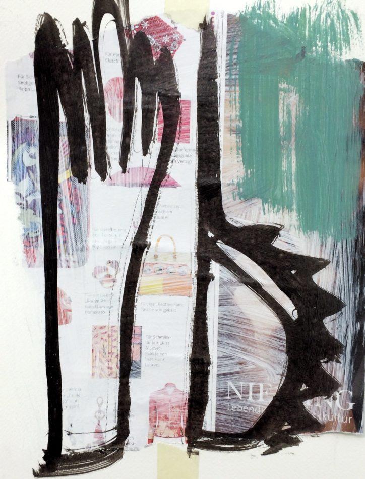 Größe: 27x35cm; Collage: New Yorker, Gesso, Pigmente und Tusche auf Aquarellpapier Mindestgebot: 100 Euro Versandkosten: 6,90 Euro