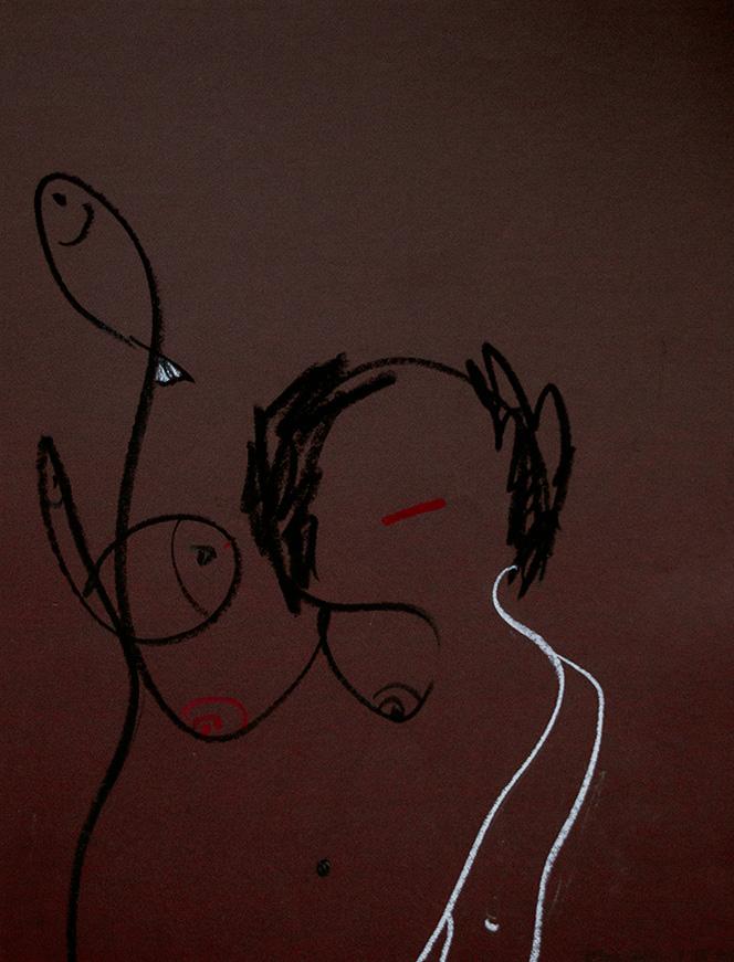 Graphik/Zeichnung ,Kohle, Pastellkreide auf farbigen Karton Motiv aus der Serie: Mundfrauen Entstehungsjahr: 1992 Größe: 50 x 65 cm