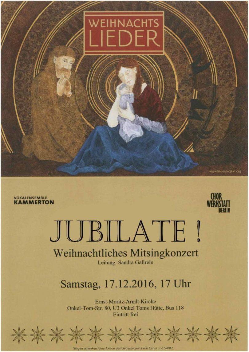 Jubilate! Weihnachtliches Mitsingkonzert in der Ernst-Moritz-Arndt-Kirche