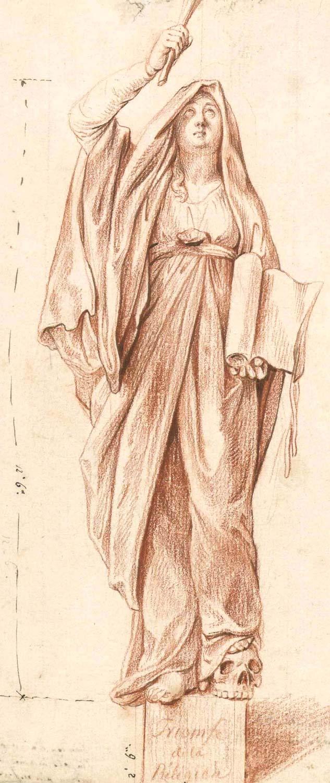 Daniel Nikolaus Chodowiecki: Die triumphierende Religio. Rötelzeichnung (Entwurf für die Kuppelfigur Doms). Akademie der Künste, Kunstsammlung