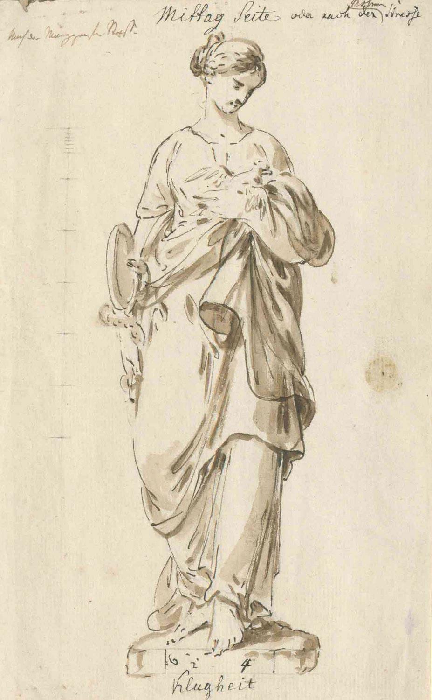 Christian Bernhard Rode: Klugheit. Federzeichnung mit Lavierungen (Entwurf für eine Giebelfigur des Akademie der Künste, Kunstsammlung