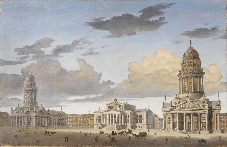 Carl Georg Adolph Hasenpflug (1802-1858): Der Gendarmenmarkt in Berlin. Öl auf Leinwand. Privatbesitz/