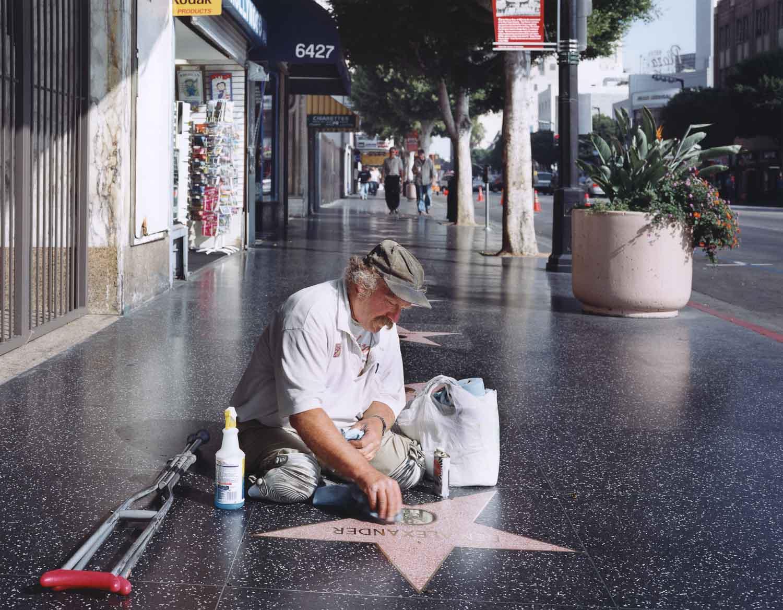 Legless star cleaner on the Hollywood Walk of Fame 2005 Juliana Sohn