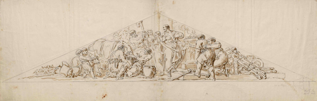 Christian Bernhard Rode: Paulus und Barnabas in Lystra. Federzeichnung (Entwurf für das Nordtympanon Doms). Akademie der Künste, Kunstsammlung