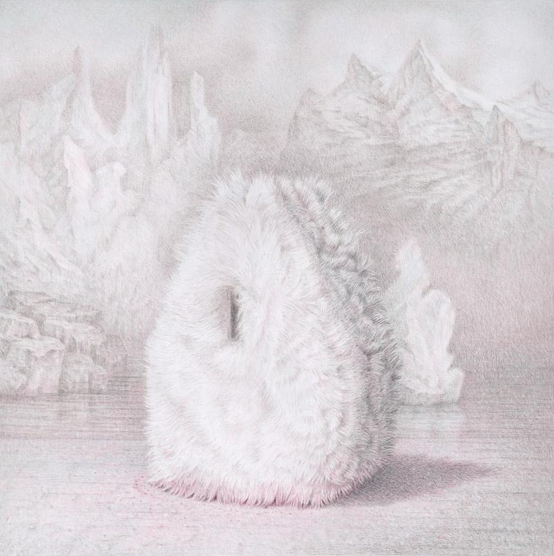 Furry Shelter Farbs auf Papier, 40,0 cm x 40,0 cm (2015)
