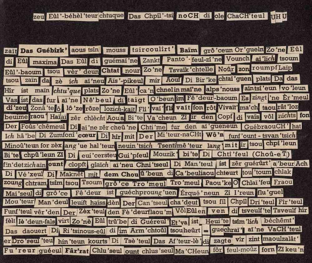 Dagmara Kraus, Collage aus das vogelmot schlich mit geknickter schnute © Berlin kookbooks 2016, Sprache und Wissen Kuratiert von Marcel Beyer Gespräche, Performances, Lesungen