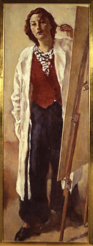 Lotte Laserstein, Selbstbildnis an der Staffelei, 1938, Öl auf Sperrholz, 127,6 × 47 cm