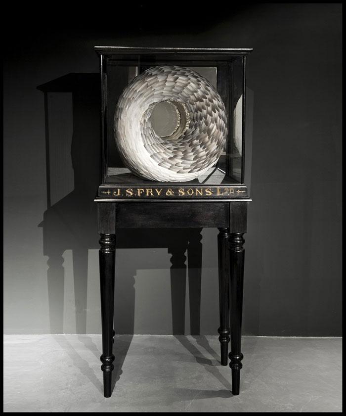 Kate MccGwire, 'Guile', 2011, Mischtechnik mit Taubenfedern und Spiegel in Vitrine auf Tisch, 162 x 72 x 39,5 cm