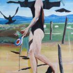 Marc Desgrandchamps, o.T., 2015, Gouache auf Papier, aufgezogen auf Leinwand, 200 x 150 cm, Foto Tristan Da Cunha, Spuren, Galerie EIGEN + ART Leipzig