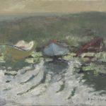 Rolf Händler, Drei Boote, 1985, Öl auf Leinwand, 30 x 35 cm