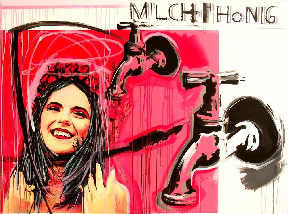 """""""MILCH UND HONIG"""", 2015 Acryl, Inkjetprint, UV Farbe auf Leinwand, 120 x 160 cm, Sebastian Moegelin mit Milch und Honig in der Woeske Gallery"""