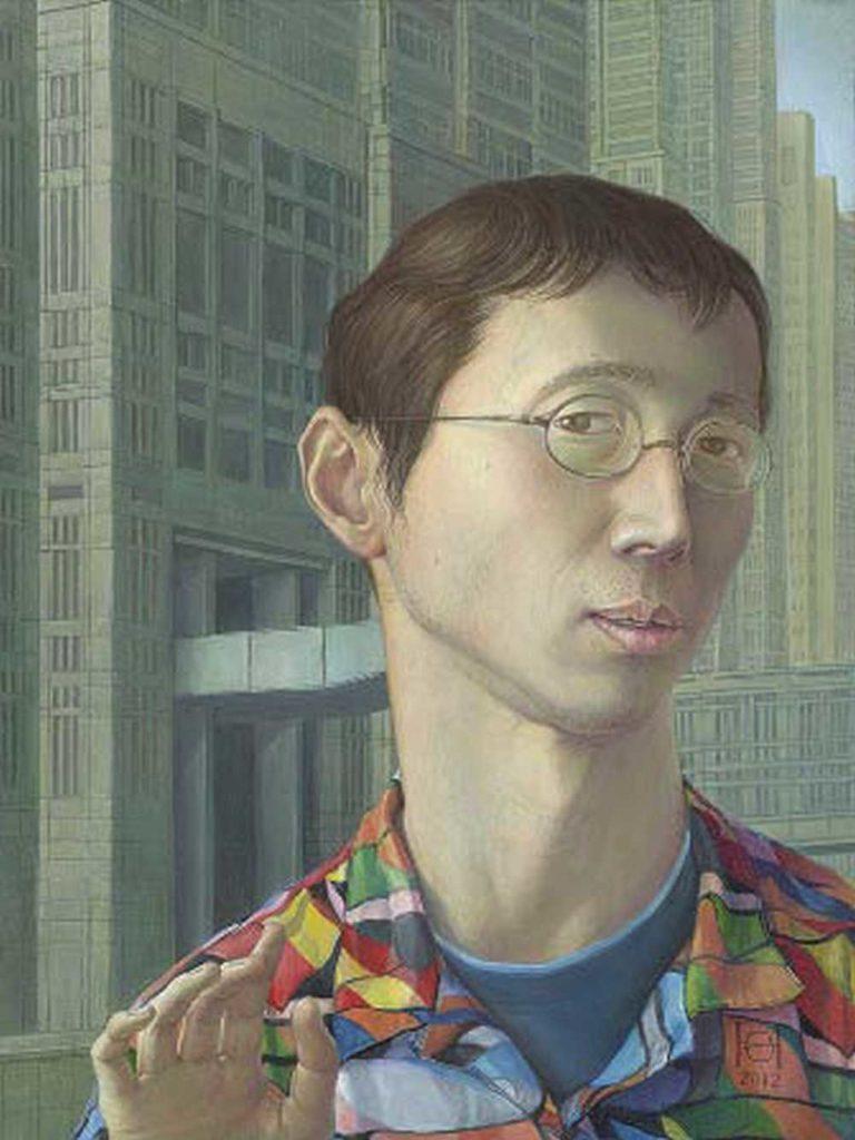 Shinji Himeno, Selbstporträt vor dem Tokioter Rathaus, 2012, Mischtechnik auf Hartfaser, 37 x 28 cm