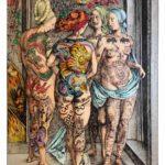 Frédéric Clavère, Les Sorcières, acrylique et Posca noir sur papier Bambou Hahnemühle contrecollé sur alu dibond, 122x175 cm, 2015-2016, Farben hinter Türen, Galerie Dukan Leipzig