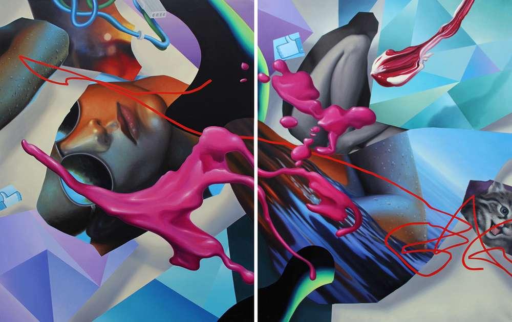 Grigori Dor, Still Life With Two Likes dypt 190 x 300 cm Ölauf Leinwand 2017