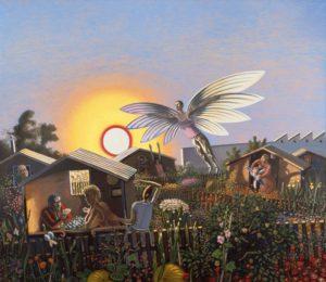 Wolfgang Mattheuer, Der Nachbar, der will fliegen, 1984, Öl auf Leinwand, 200 x 230 cm