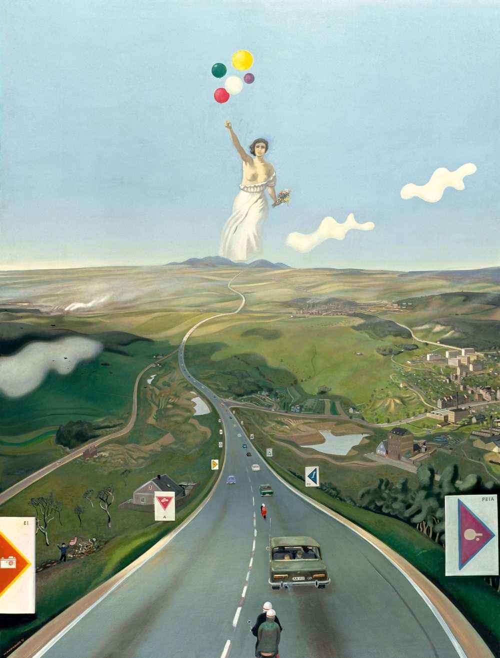 Wolfgang Mattheuer, Hinter den 7 Bergen, 1973, Öl auf Hartfaser, 170 x 130 cm