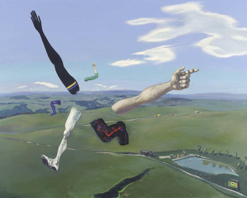Wolfgang Mattheuer, Verlorene Mitte, 1982, Öl auf Hartfaser, 100 x 125 cm