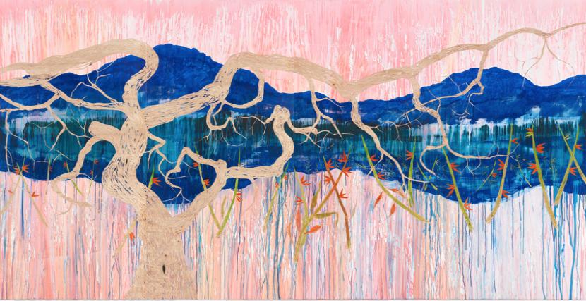 Nicole Bianchet, Simulation Of An Empty Mind oder wie ich mit den Gedanken Versteck spielte, 2017, Mischtechnik auf Holz, 220 x 480 cm
