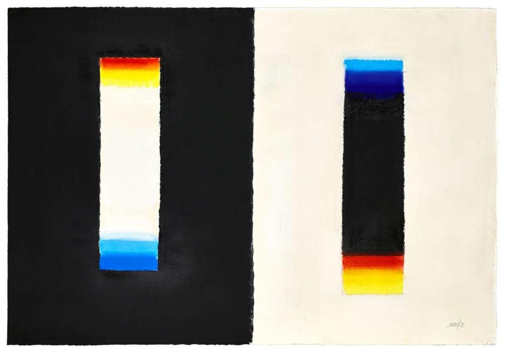 Heinz Mack, Ohne Titel, nach einer Vorlage von Goethe, 1991, Pastellkreide und Sprühfarbe auf Bütten, 76,5 × 111 cm