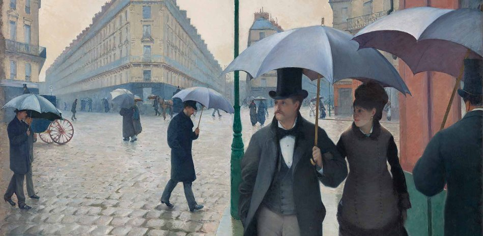 Gustave Caillebotte Straße in Paris, Regenwetter [Rue de Paris, temps de pluie], 1877 Öl auf Leinwand, 212,2 × 276,2 cm Art Institute of Chicago © bpk / The Art Institute of Chicago / Art Resource, NY