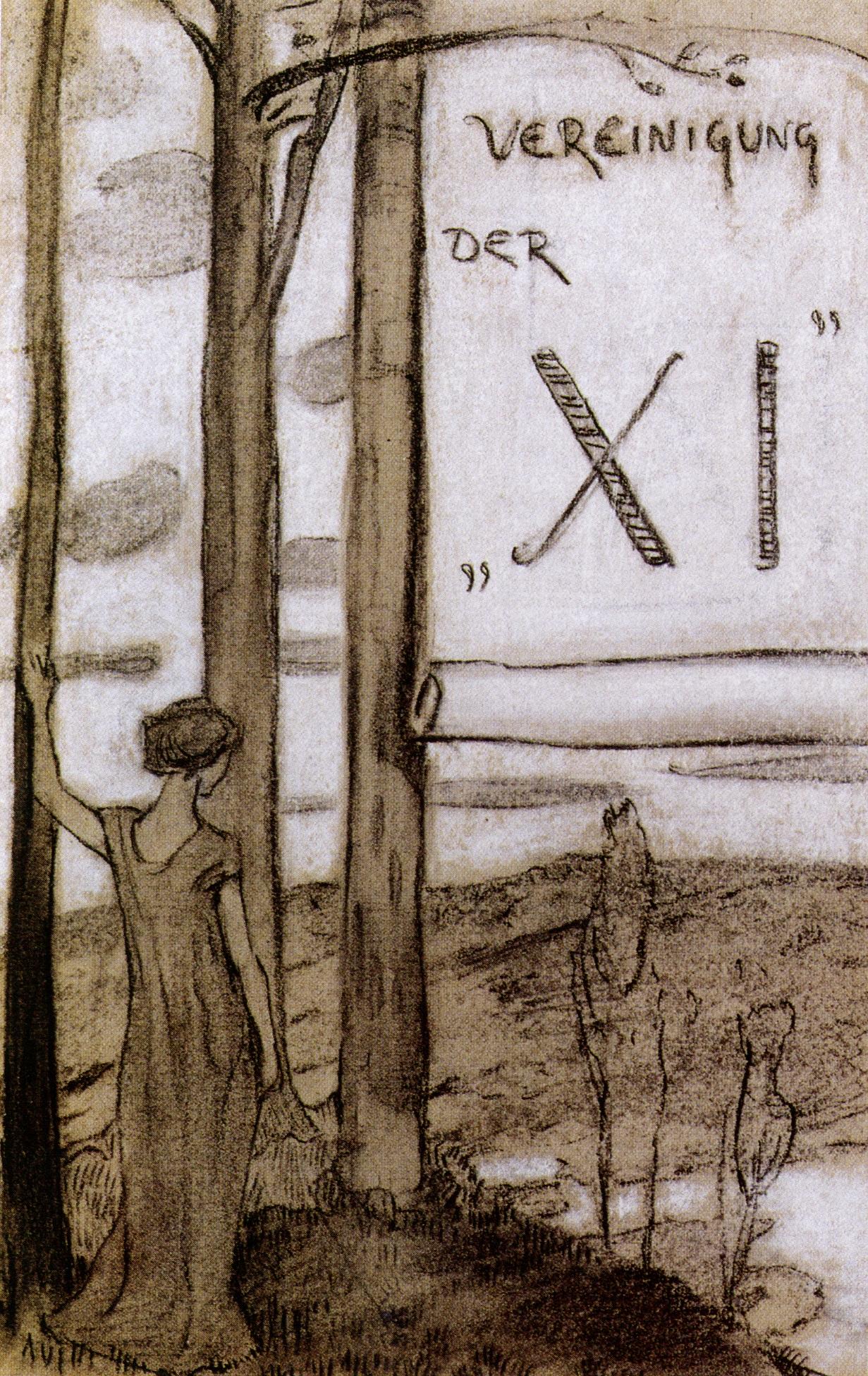 Ludwig von Hofmann Entwurf für eine Einladungskarte der Vereinigung der XI (an Bäumen stehendes Mädchen) Um 1892/93 Kohle und weiße Kreide auf Papier Ludwig-von-Hofmann-Archiv, Zürich Foto: Peter Schälchli, Zürich