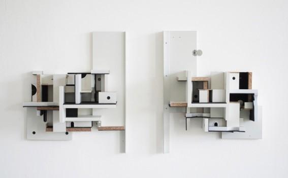 Matthias Stuchtey, Twin House, 2019, versch. Holzwerkstoffe, 2-teilig, je 60x48x23cm