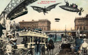 Berlin in der Zukunft. Am Halleschen Tor 1905 Postkarte Sammlung Peter Weiss, www.postcard-museum.com