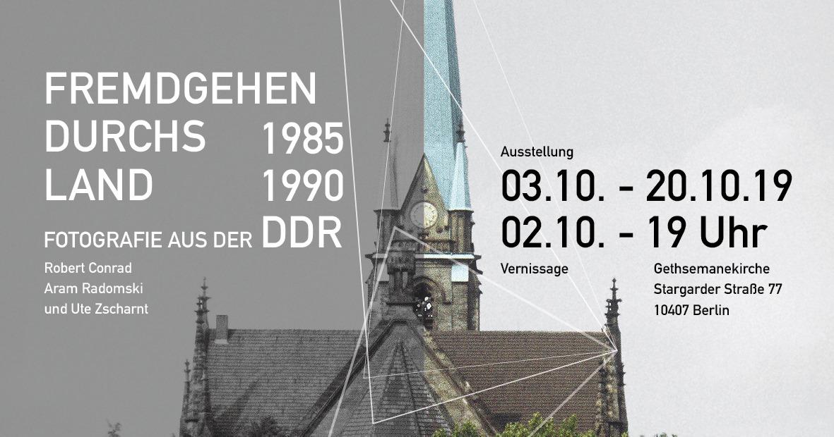 Ausstellung FREMDGEHEN DURCHS LAND Gethsemanekirche Berlin Ute Zscharnt, Robert Conrad und Aram Radomski