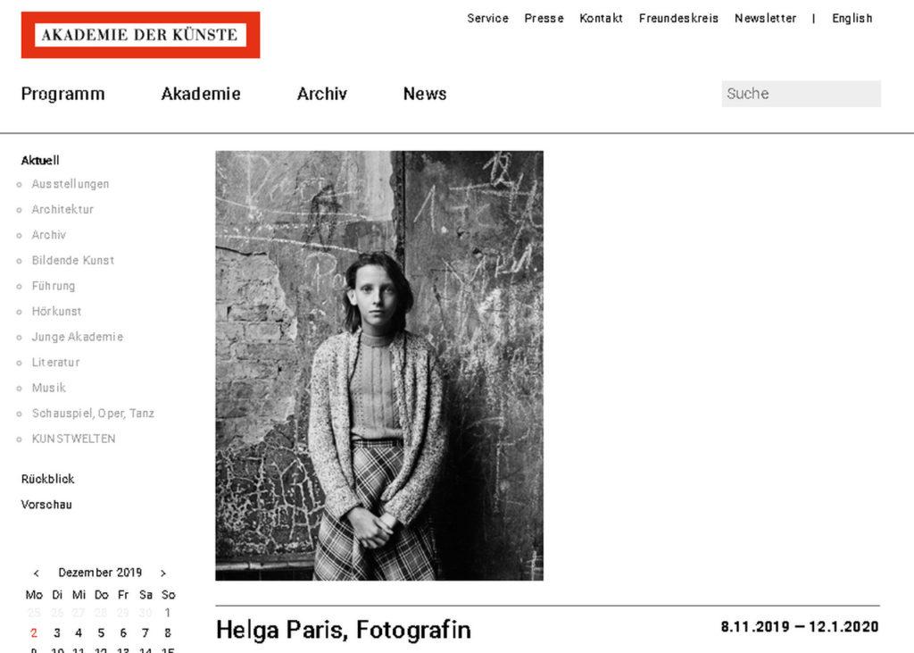 Helga Paris: Archivführung am 5.12.2019, 19 Uhr, Akademie der Künste