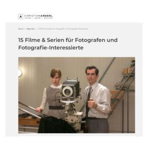 15 Filme und TV-Serien zur Fotografie von Christian Anderl