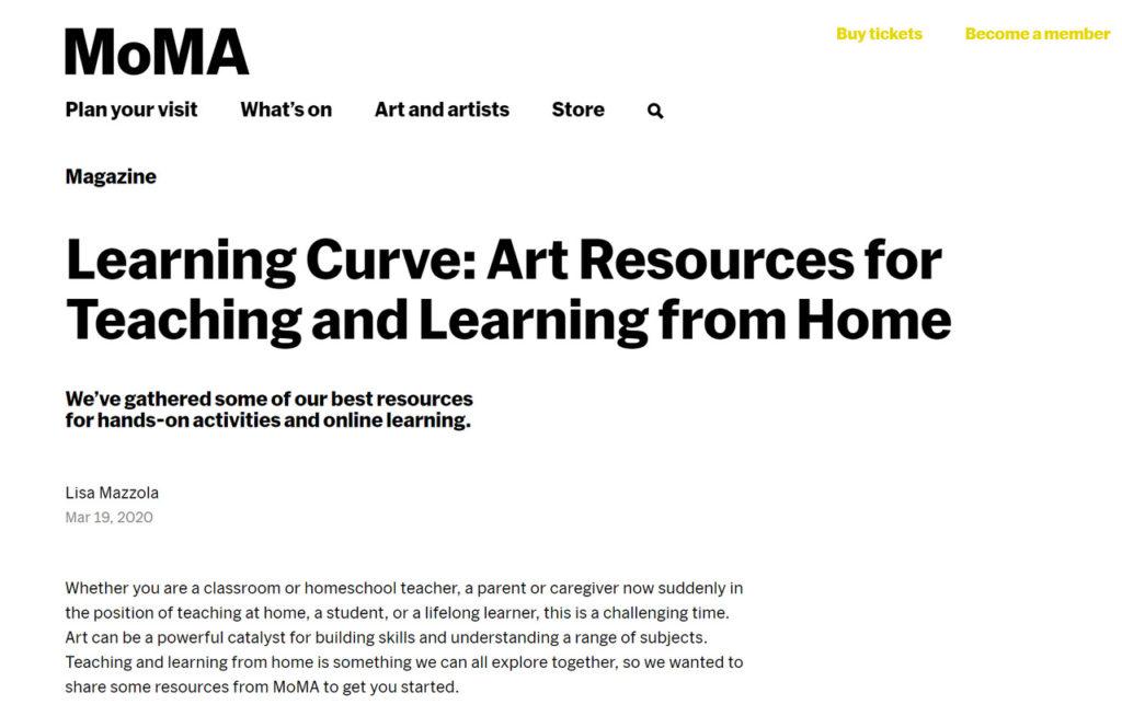 MoMA Kunstschulkurse online