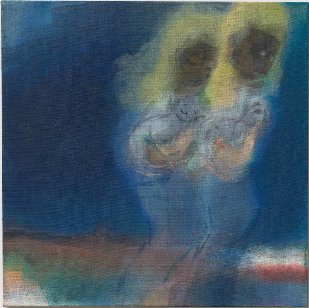 XXV. ROHKUNSTBAU Leiko Ikemura, Doppelfigur in Blau, 2000/02 Öl auf Jute, 70 x 70 cm © Leiko Ikemura und VG Bild-Kunst, 2020