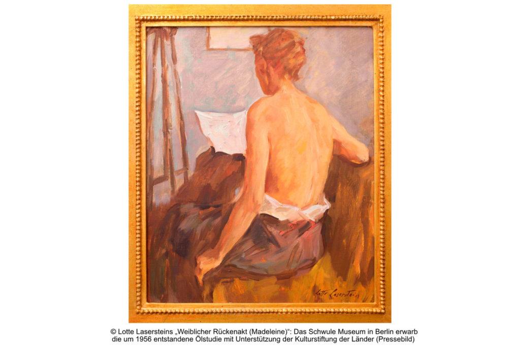 Bassenge KLB Lotte Laserstein Pressebild Weiblicher Rückenakt Schwules Museum