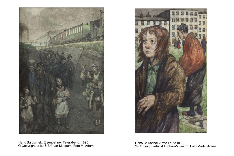 Hans Baluschek: Eisenbahner Feierabend und Arme Leute (o.J.)© Copyright artist & Bröhan-Museum, Foto Martin Adam